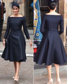 Meghan looked stunning as she arrived at Westminster Abbey for the start of the celebrations wearing a black dress by Dior and black hat by Stephen Jones and Cartier White Gold Diamond Earrings / and shoes also from Dior (the information so far). Elegant Dresses, Trendy Dresses, Beautiful Dresses, Casual Dresses, African Attire, African Dress, Frock Fashion, Fashion Dresses, Indian Designer Outfits