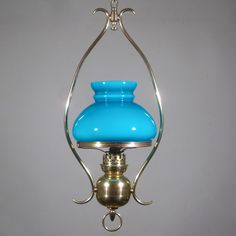 Antique French hanging Lamp Chandelier Turquoise Blue Opaline Glass Shade    eBay http Antique French Hanging Oil Lamp  Weighted  Chandelier  Milk Glass  . Antique French Lamps On Ebay. Home Design Ideas