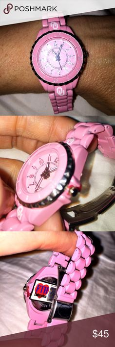 💗 Pink O.U. Watch 💗 💗 Pink O.U. Watch 💗 New. Picture does show small spot where pink paint on watch has been scratched. Not noticeable. Pretty large watch, as in many links can be taken out if needed. Accessories Watches