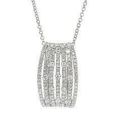 "EFFY 14K White Gold 0.78ctw Diamond Seven-Row Pendant w/ 18"" Cable Chain"