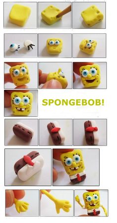 4 SpongeBob Models Step by Step - Creative Ideas 💡 Cute Polymer Clay, Polymer Clay Animals, Cute Clay, Fimo Clay, Polymer Clay Projects, Polymer Clay Charms, Polymer Clay Creations, Clay Crafts, Cake Topper Tutorial