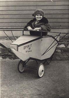 Girl in toy Spirit of St. Louis, 1927