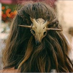 Leather boho cow skull hair accent Holds pony tails. First picture is inspirational. Accessories Hair Accessories