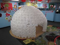 would be very fun.  Igloo from milk cartoons. Can't see how I'll collect 500 milk cartoons or get time to do this