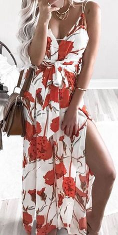 #summer #outfits / rose print dress