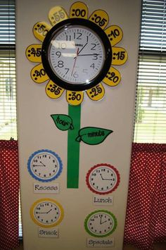 Plants kindergarten crafts classroom New ideas Classroom Clock, 2nd Grade Classroom, Classroom Setting, Classroom Setup, Math Classroom, Diy Classroom Decorations, Future Classroom, Garden Theme Classroom, Math Clock