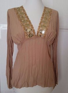 Click Chiffon Pleated Deep V Neck Blouse Womens sz S Sequins Long sleeve beige #Click #Blouse #EveningOccasion