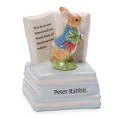 "Gund Classic Beatrix Potter Peter Rabbit Musical Sculpture This ceramic musical sculpture winds up to play ""rock-a-bye baby"" while a detailed peter rabbit figurine rotates on top of a stack of books. Easter Gifts For Kids, Easter Toys, Peter Rabbit Figurines, Beatrix Potter Figurines, Peter Rabbit Party, Rock A Bye Baby, Toys For Girls, Musicals, Music Boxes"