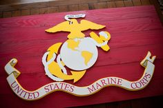 US MARINE CORPS WOODEN FLAG. Available sizes: The official flag is scarlet with the Corps emblem in gray and gold. It was adopted on 18 January although Marine Corps Order 4 had established scarlet and gold as Once A Marine, Marine Mom, Us Marine Corps, Marine Barracks, Marine Flag, Wood Flag, Diy Rustic Decor, Military Gifts, Diy Wood Projects