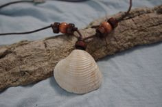 Cream Sea Shell Necklace with Dark and Light Brown by FruFruDesign, $15.00