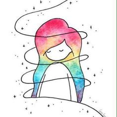 Little colorful girl - Zeichnung İdeen bleistift - Art Sketches Cute Drawings, Drawing Sketches, Pencil Drawings, Drawing Ideas, Art Drawings Easy, Colorful Drawings, Pencil Art, Lead Pencil, Galaxy Drawings