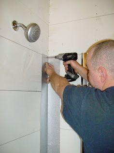 Cottage Dreamers: Galvanized corrugated metal shower surround, steps to install Bathroom Shower Panels, Bathroom Red, Bathroom Ideas, Tin Shower Walls, Bathtub Ideas, Bathroom Showers, Bathroom Stuff, Bathroom Makeovers, Bathroom Shelves