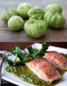 Salmon with Roasted Tomatillo sauce