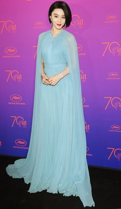 FAN BINGBING : The star proves capes are a Cannes style must in her elegant Elie Saab Couture gown.