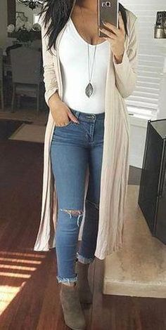 Beige Long Casual Cardigan Fall Outfits,Summer,Work,Casual Source by outfits casual Spring Outfits Women Casual, Summer Work Outfits, Trendy Outfits, Cheap Fall Outfits, Sexy Casual Outfits, Early Spring Outfits, Casual Summer Outfits For Women, Autumn Outfits, Dress Casual