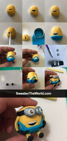 Pictorials how to make fondant Minion Figurine - Bob, easy to make a beautiful cake topper for your next Minion cake