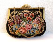 Antique tapestry purse, gobelin handbag, enameled brass frame, floral needlepoint purse, black carpet pouch, victorian purse, kilim purse