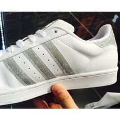 Adidas Superstar Leather White Glitter Silver Trainers Shoes