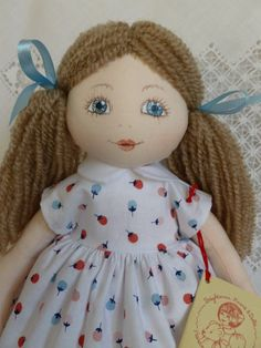 "Maddie. A 13"" Rag/cloth handmade doll by Brenda Brightmore 