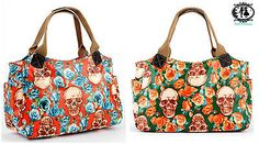 LADIES SKULL FLOWER PRINT OILCLOTH TOTE HANDBAG SHOULDER BAG HOBO SLOUCH SHOPPER in Women's Handbags   eBay
