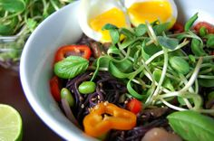Spicy Sesame Black Rice #Ramen Noodles http://www.foodandflight.com/recipe-items/spicy-sesame-black-rice-ramen-noodles/