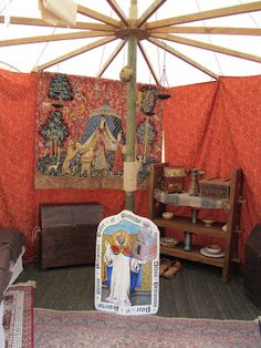 Beautiful tapestry hanging in a tent. Trecentesca 2012, Morimondo Italy.
