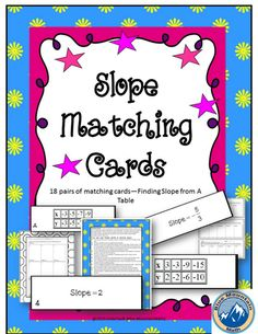 Students practice finding slope from tables in this matching activity to use in a variety of ways.