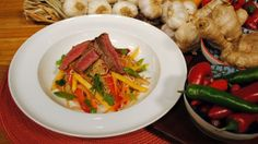 Dean Edwards uses coconut oil for this healthy dish so you can enjoy all the taste of Thailand without loading up on too many calories. Lorraine Recipes, Beef Salad, Mango Salad, Healthy Dishes, Japchae, Thai Red Curry, Coconut Oil, Chicken, Thailand