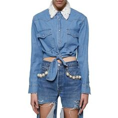 Forte Couture Bow Denim Shirt (8.227.405 VND) ❤ liked on Polyvore featuring tops, light blue, blue shirt, bow shirt, denim top, bow top and blue top