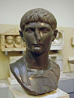 Germanicus, prominent general, grandson of empress Livia, son of Antonia the Younger, brother of emperor Claudius, husband (and cousin) of Agrippina the Elder, father of emperor Caligula and empress Agrippina the Younger, grandfather of emperor Nero; Roman bust (marble), 1st century AD, (British Museum, London).