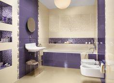 beautiful purple cream bathroom idea