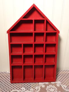 Large Wood Divided Display Box - Red Shadow Box House  -  16-066 by BubbiesMemories on Etsy