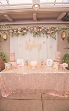 Bridal shower decorations - Boho-chic bridal shower - pink + gold party {Courtesy of Kara's Party Ideas} Baby Party, Baby Shower Parties, Baby Shower Themes, Shower Ideas, Babyshower Themes For Girls, Baby Shower Table Set Up, Baby Shower Photo Booth, Fiesta Baby Shower, Floral Baby Shower