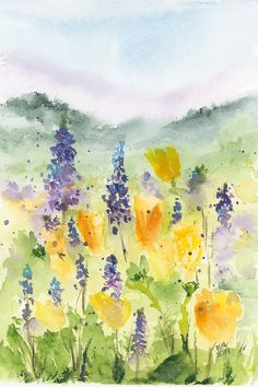 Desert Wildflowers Watercolor Painting by Bette-Ann LaBerge