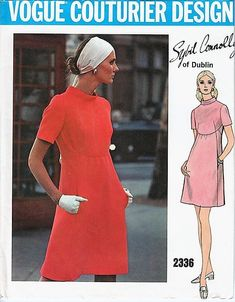 Vogue Couturier Design dress sewing pattern by Sybil Connolly, factory folded, Bust 34 inches. Misses One-Piece Dress. Semi-fitted slightly Vogue Patterns, Vogue Vintage, Vintage Fashion, Vintage 70s, Robes Vintage, Vintage Dresses, Corsage, Bias Cut Dress, Vintage Dress Patterns