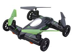 Flying Car / Drone - Drive Car and Fly Quadcopter Modes. This is new and improved 2015 Flying Car! New features : 2 extra powerful batteries 3.7 x 750mah and 1 key return !! Land mode - Functions as a remote control car with 2 speed mode Fly Mode - Functions as a quadcopter with 2 speed mode, 360 degree flip , 1 Key return home !, With LED light for night flight . . . read more . . . pls repin