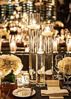 cool glowing wedding centerpiece with water - Shelterness