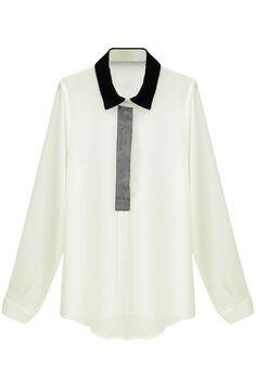 Dual-tone Asymmetrical Hem Shirt #Romwe