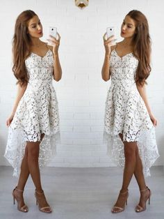 Prom Dress For Teens, Stylish A-Line/Princess Spaghetti Straps Sleeveless Lace Short/Mini Dresses cheap prom dresses, beautiful dresses for prom. Best prom gowns online to make you the spotlight for special occasions. White Homecoming Dresses, High Low Prom Dresses, Dresses Short, Plus Size Prom Dresses, Short Mini Dress, Mini Dresses, Lace Dresses, Dress Lace, Prom Gowns