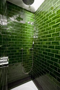 bold green subway tile  Hotel Praktik Rambla Handmade tiles can be colour coordinated and customized re. shape, texture, pattern, etc. by ceramic design studios