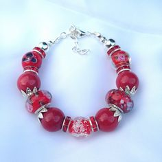 Red agate and glass bracelet agate and glass by ECJewellery