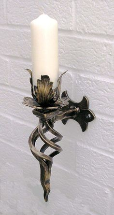 Wrought Iron Wall Candle Sconce Heavy weight wall sconce hign and out from wall. Bronze Wall Sconce, Bathroom Wall Sconces, Candle Wall Sconces, Wall Sconce Lighting, Silver Walls, Metal Candle Holders, Iron Chandeliers, Iron Decor, Iron Wall