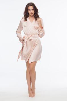 Brigitte Blush Silk Robe