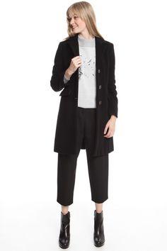 € 135,00 - Cappotto dalla inea dritta realizzato in drap di misto lana vergine - taglia 42