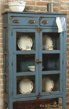 Primitive Cabinet Jelly Cupboard Estilo Cottage Repurposed Furniture