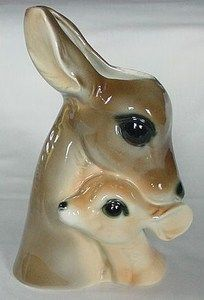 GREAT VINTAGE MOTHER DEER & FAWN PLANTER ROYAL COPLEY LUSTROUS FINISH