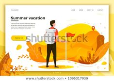 Vector illustration - man looking to the mountain peaks. Mountains, trees and hills on background. Banner, site, poster template with place for your text.