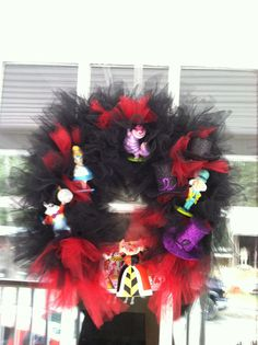 Alice in wonderland tulle wreath I made for Jenna's bedroom door