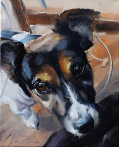 """11"""" x 14"""" Custom Painted Oil Portrait of Your Dog From Your Photo by Clair Hartmann"""