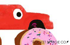 Truck Art, Donuts, Cool Designs, Original Paintings, Greeting Cards, Snoopy, Trucks, Art Prints, Illustration